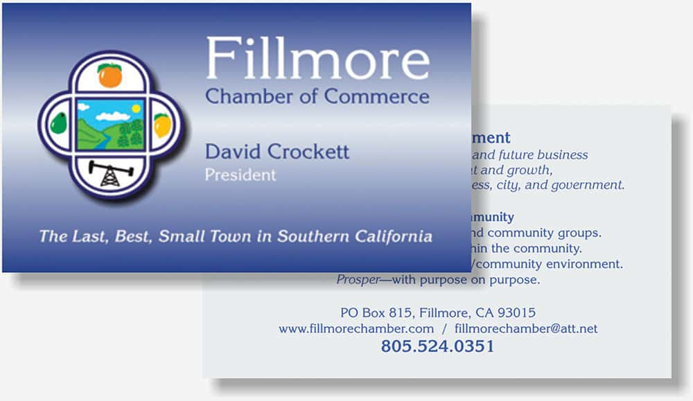 Fillmore Chamber business card