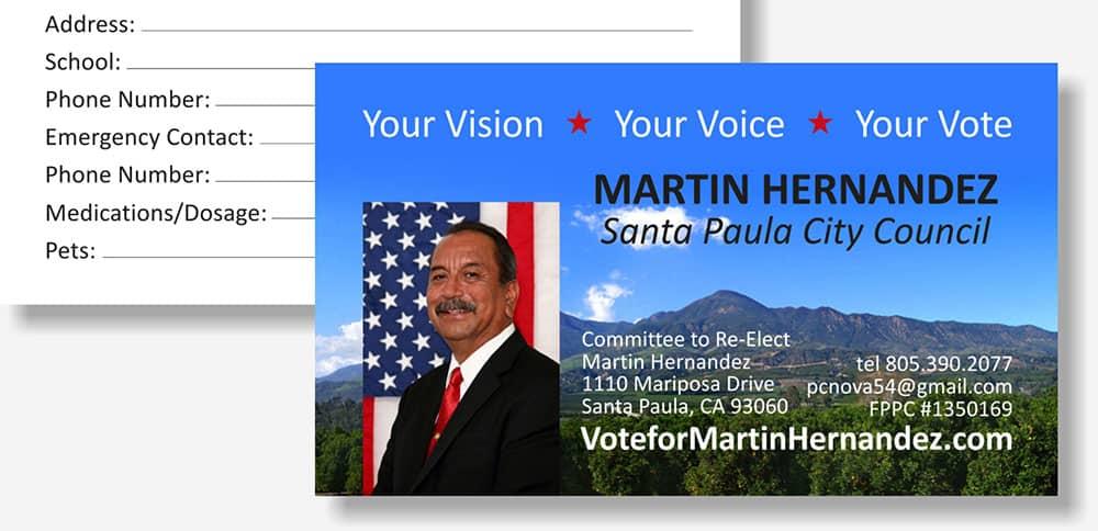 Martin Hernandez political business card