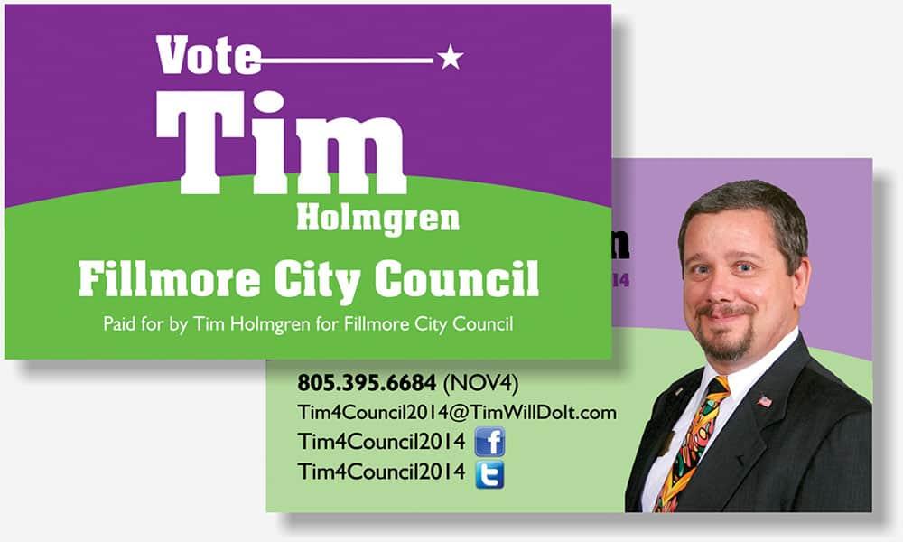 Tim Holmgren political business card