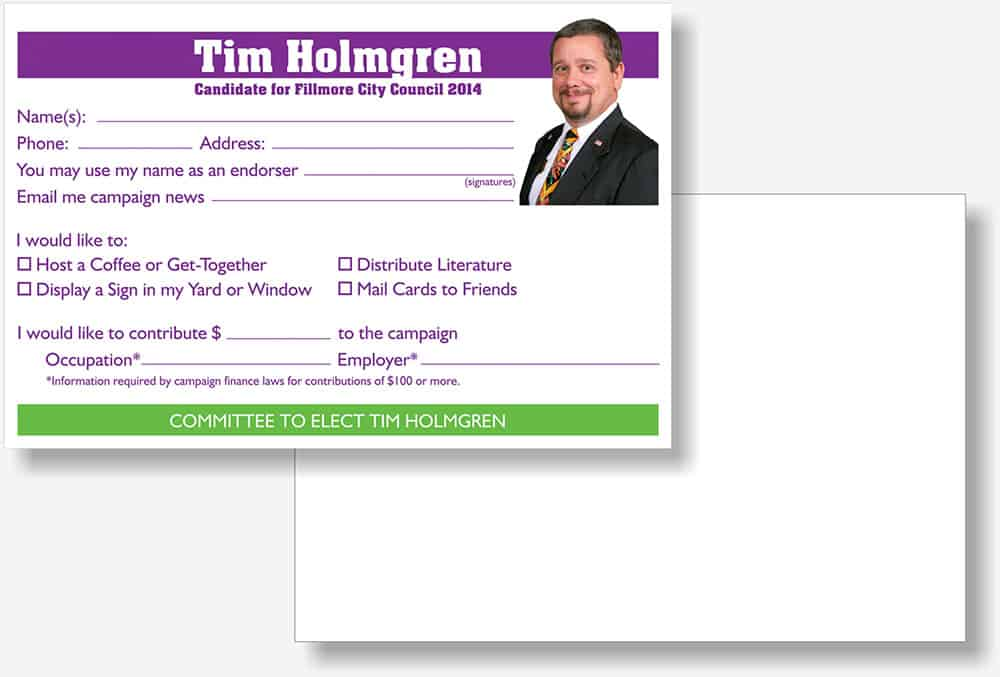 Tim Holmgren endorsement card