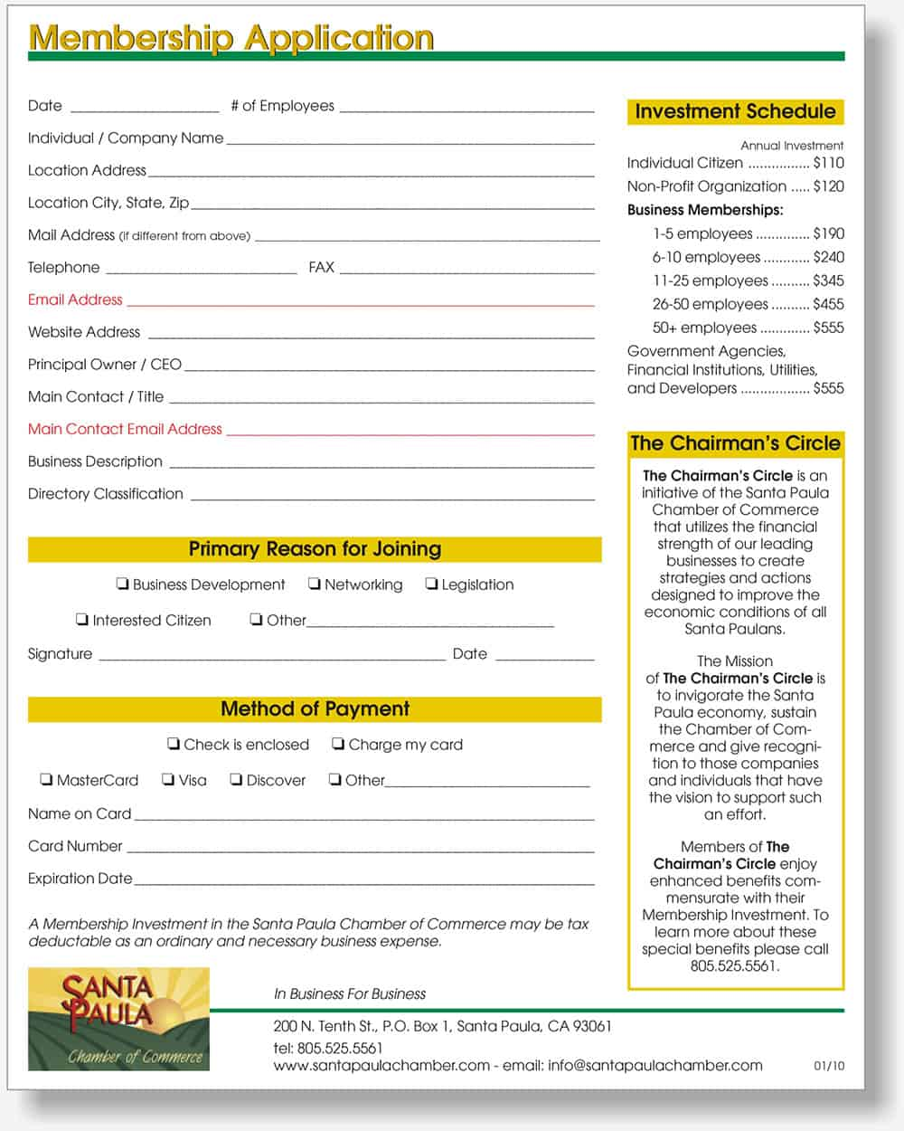 Santa Paula Chamber application form
