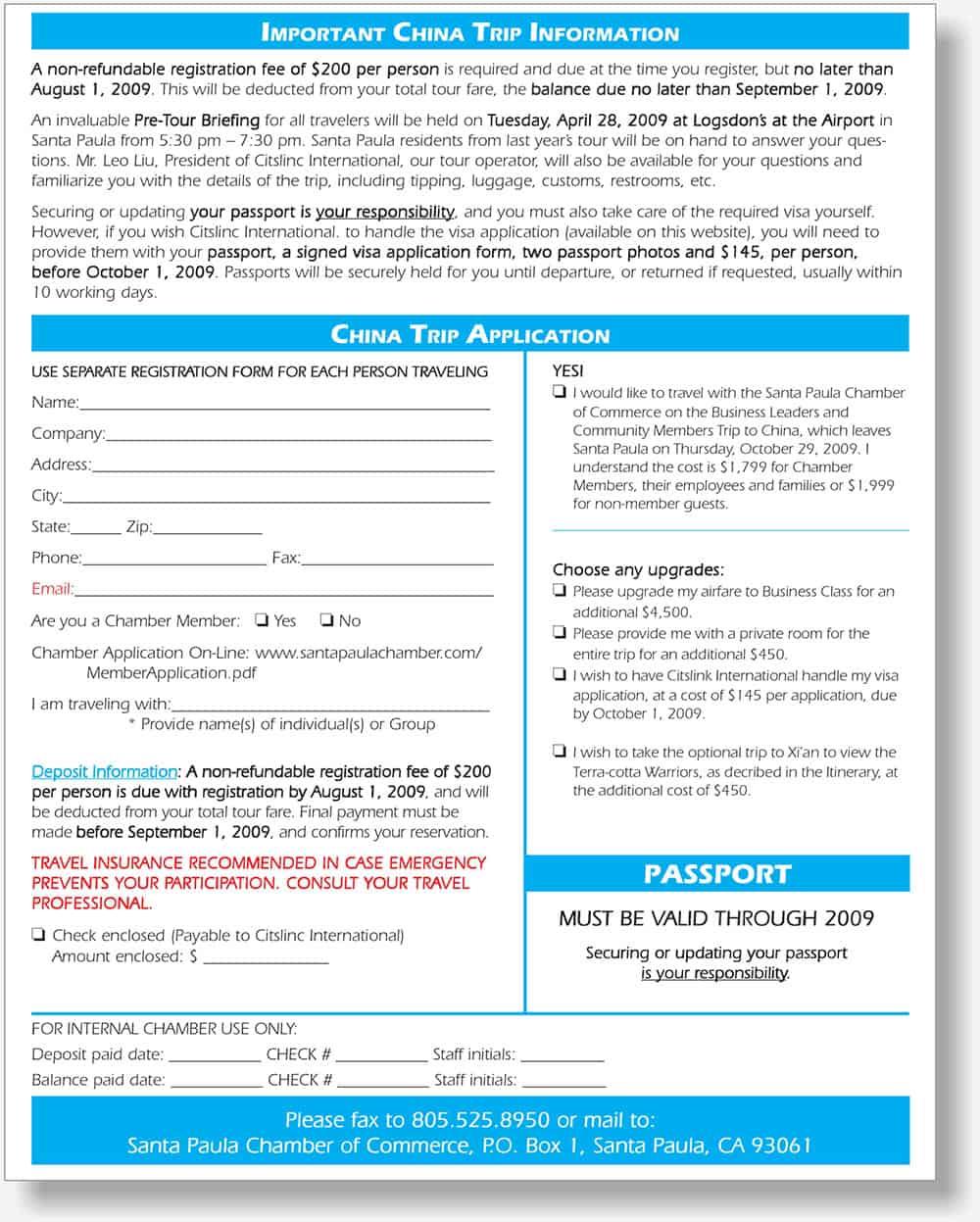 Santa Paula Chamber application form