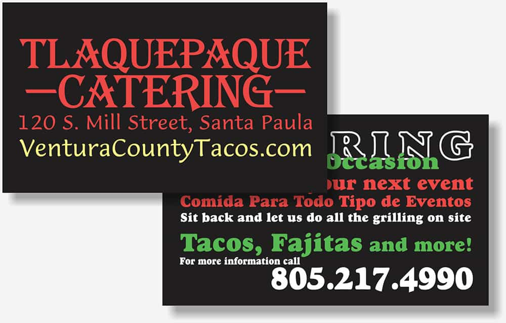 Tlaquepaque catering card