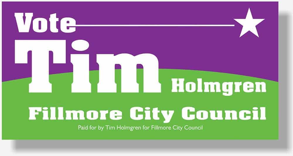 Tim Holmgrne political banner