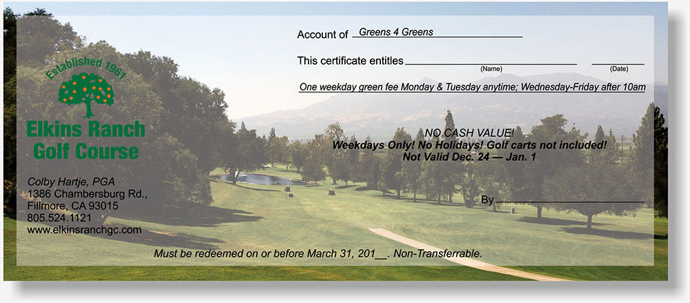 Elkins Ranch Golf Course gift certificate