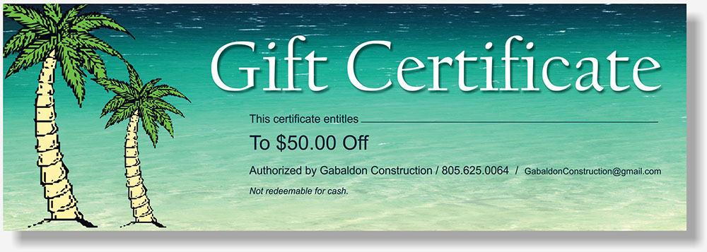 Gabaldon Construction gift certificate