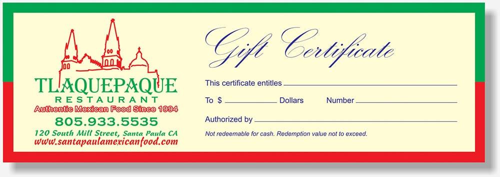 Tlaquepaque Restaurant gift certificate