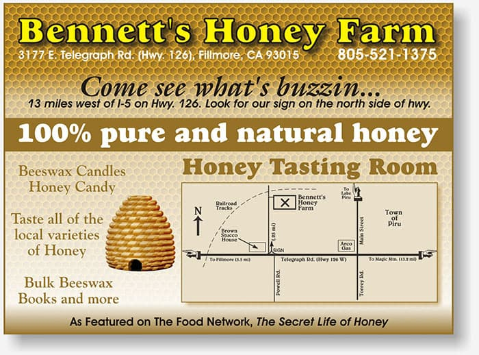 Bennetts Honey Farm half page directory ad