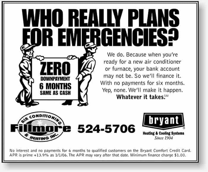 Fillmore Heating and Air small newspaper display ad