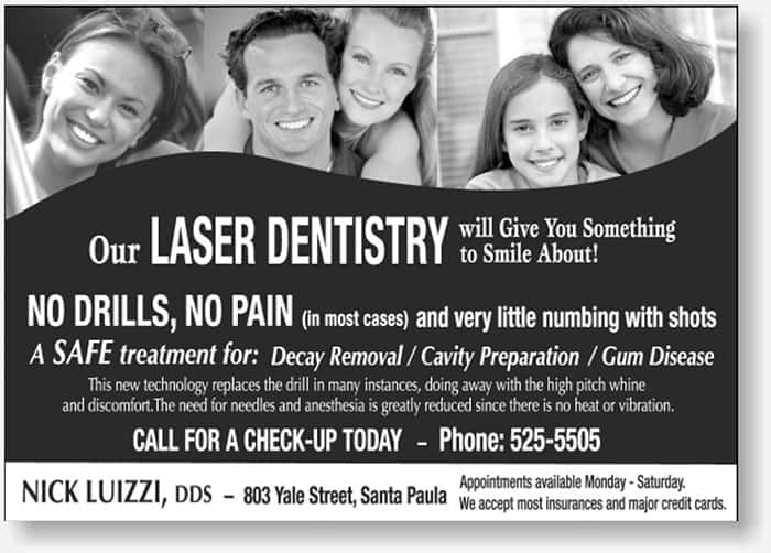 Laser Dentistry small newspaper display ad