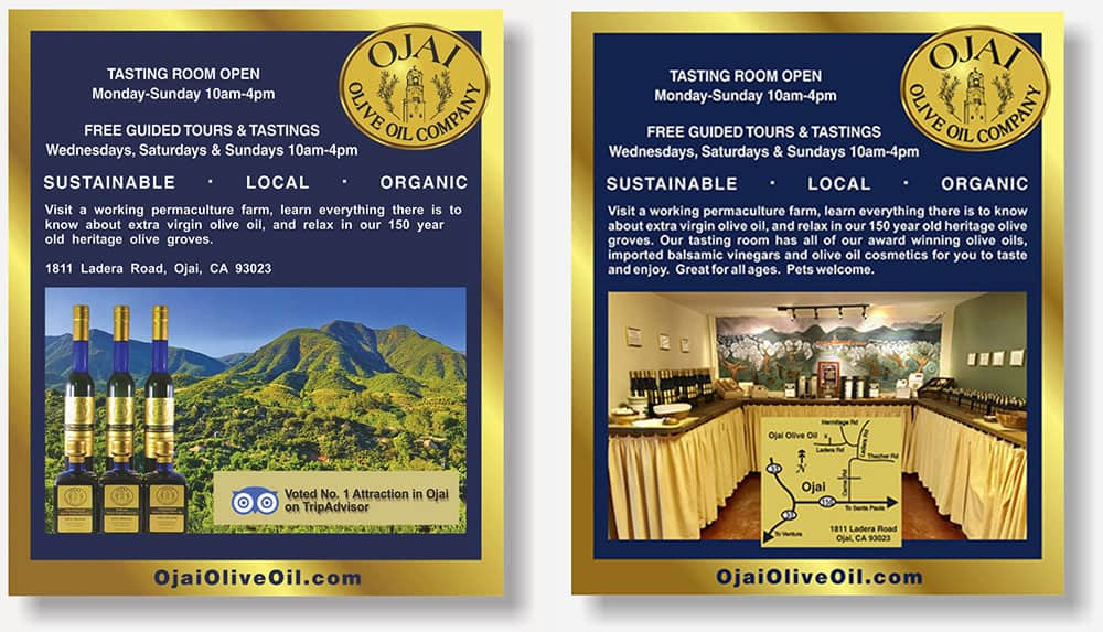 Ojai Olive Oil display ad