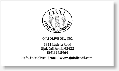 Ojai Olive Oil business card