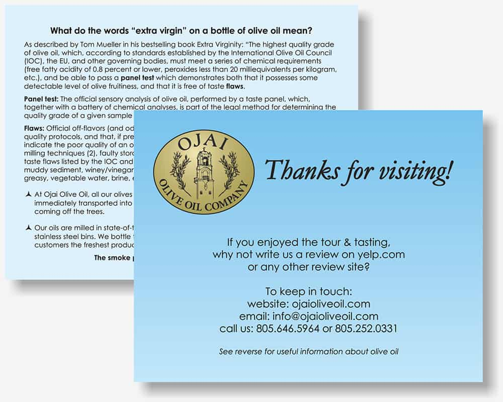 Ojai Olive Oil Thank You card