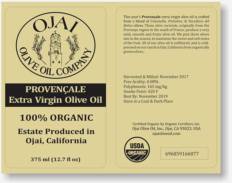 Ojai Olive Oil labels