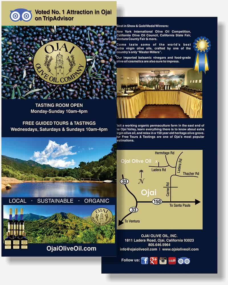 Ojai Olive Oil rack card