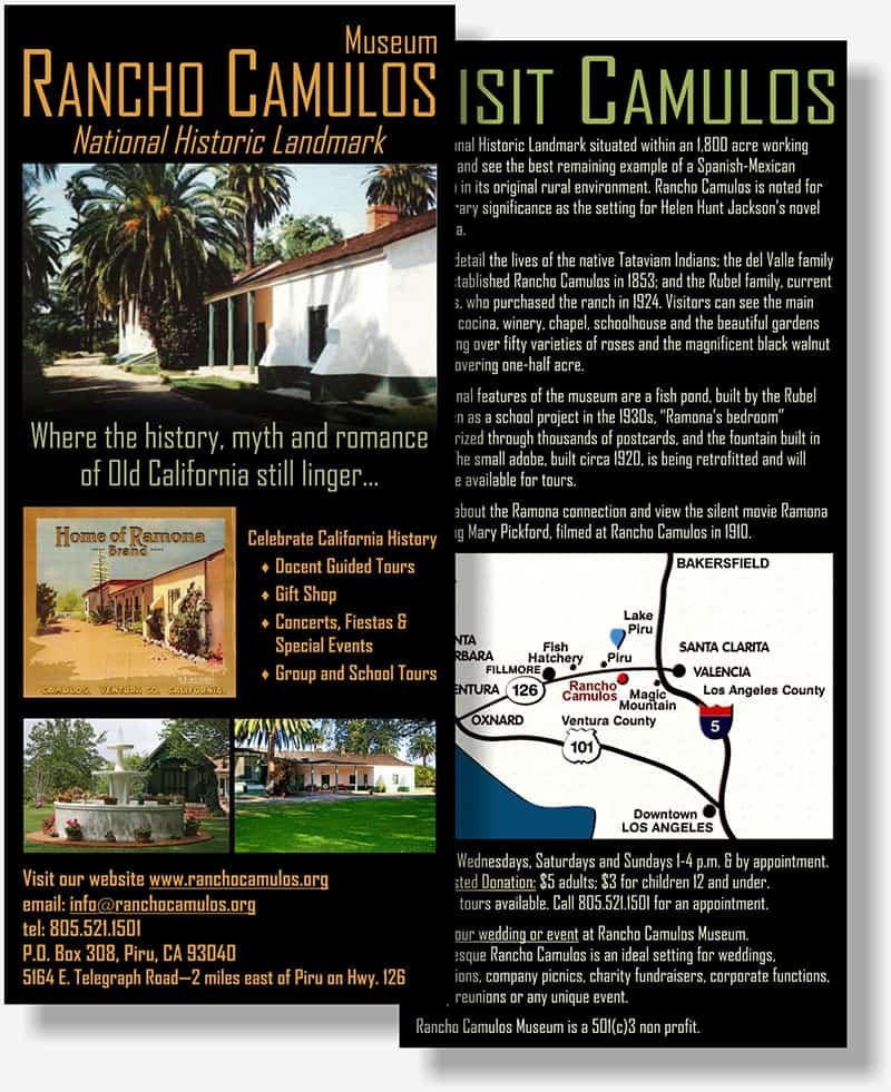Rancho Camulos rack card